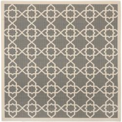 Safavieh Courtyard Geometric Trellis Grey/ Beige Indoor/ Outdoor Rug (6'7 Square)