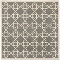"""Safavieh Courtyard Geometric Trellis Grey/ Beige Indoor/ Outdoor Rug - 6'7"""" x 6'7"""" square"""