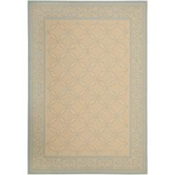 Safavieh Courtyard Cream/ Aqua Indoor/ Outdoor Rug (4' x 5'7)