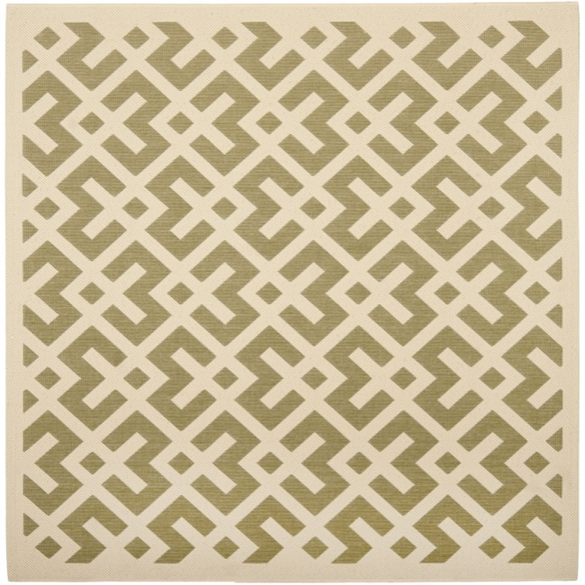 Safavieh Courtyard Contemporary Green/ Bone Indoor/ Outdoor Rug (6'7 Square)
