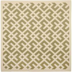 "Safavieh Courtyard Contemporary Green/ Bone Indoor/ Outdoor Rug - 6'7"" x 6'7"" square - Thumbnail 0"