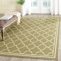 "Safavieh Poolside Green/Beige Indoor/Outdoor Border Rug (6'7"" Square) - 6'7 Square"