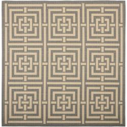 Safavieh Poolside Grey/ Cream Indoor Outdoor Rug (6'7 Square)