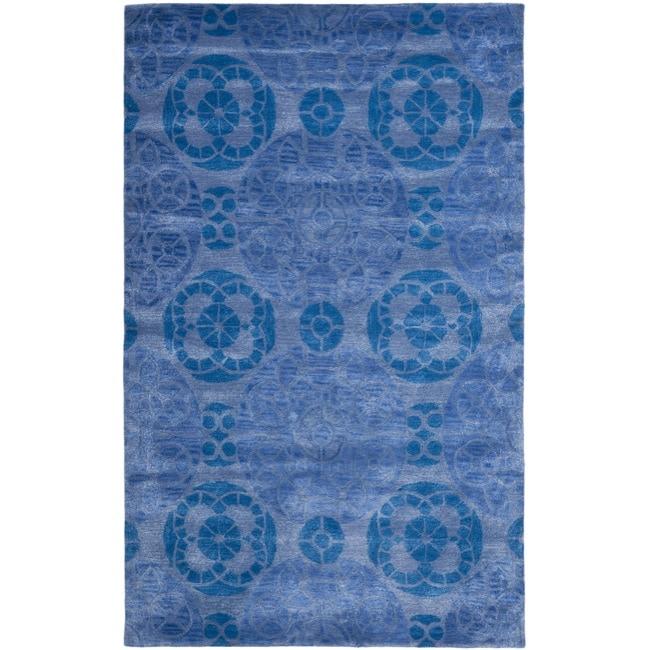 Safavieh Handmade Chatham Treasures Blue New Zealand Wool Rug (4' x 6')