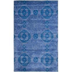 Safavieh Handmade Chatham Treasures Blue New Zealand Wool Rug (4' x 6') - 4' x 6' - Thumbnail 0