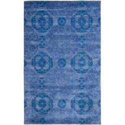 Safavieh Handmade Chatham Treasures Blue New Zealand Wool Rug (5' x 8')