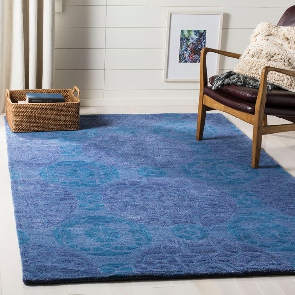 Safavieh Handmade Chatham Treasures Blue New Zealand Wool Rug - 8' x 10'