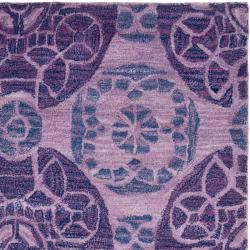 Safavieh Handmade Chatham Treasures Purple New Zealand Wool Rug (4' x 6') - Thumbnail 1