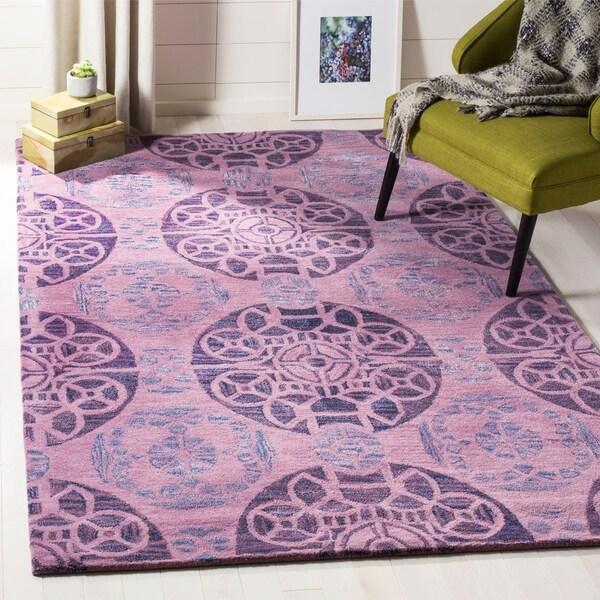 Safavieh Handmade Chatham Treasures Purple New Zealand Wool Rug - 5' x 8'