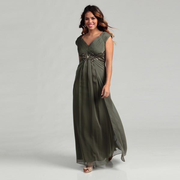 KM Collections Women's Sequin and Pleated Dress
