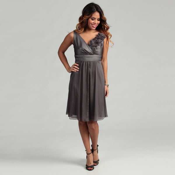KM Collections Women's Gunmetal Rosette Empire Dress