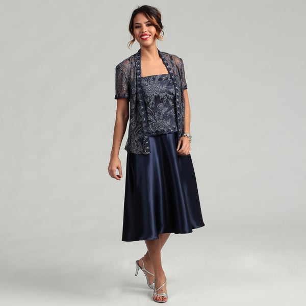 Karen Miller Women's 2-piece Metallic Lace Jacket Dress