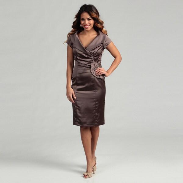 KM Collections Women's Portrait Collar Stretch Dress