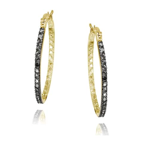 DB Designs Sterling Silver Black Diamond Accent in and Out Oval Hoop Earrings
