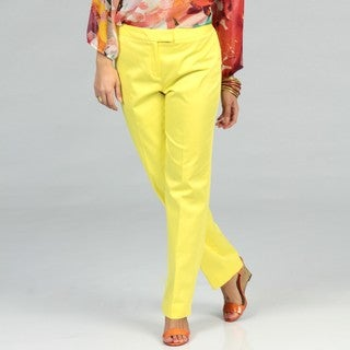 Evan Picone Women's Bright Yellow Tab Pants