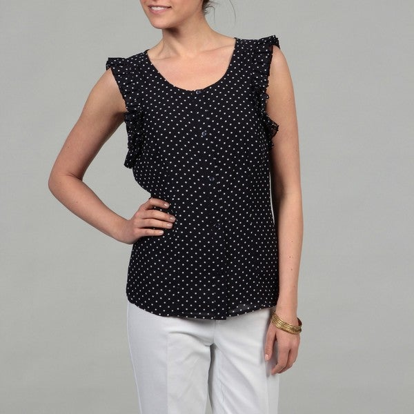 Evan Picone Women's Navy Polka Dot Top