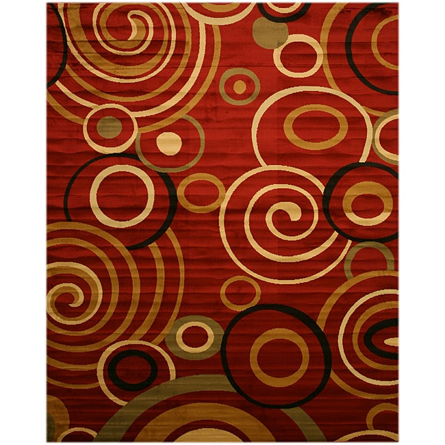 Red Modern Abstract Lunar Rug (5'3 x 7'3)