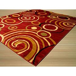 Red Modern Abstract Lunar Rug (5'3 x 7'3) - Thumbnail 1