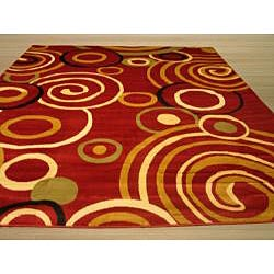 Red Modern Abstract Lunar Rug (5'3 x 7'3) - Thumbnail 2