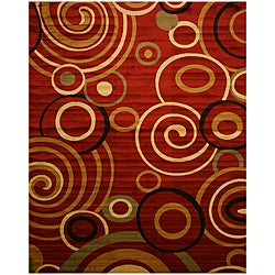Red Modern Abstract Lunar Rug (7'10 x 9'10)