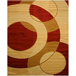 Red Modern Abstract Rafa Rug (5'3 x 7'3)