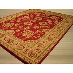 Red Traditional Oriental Antep Agra Rug (7'10 x 9'10) - Thumbnail 1
