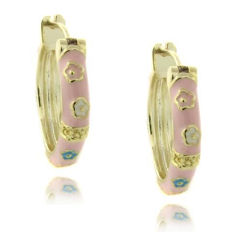 Molly and Emma 14k Gold Overlay Children's Pink Enamel Flower Design Hoop Earrings