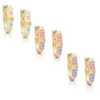 Molly and Emma 14k Gold Overlay Children's Enamel Heart Design Hoop Earrings