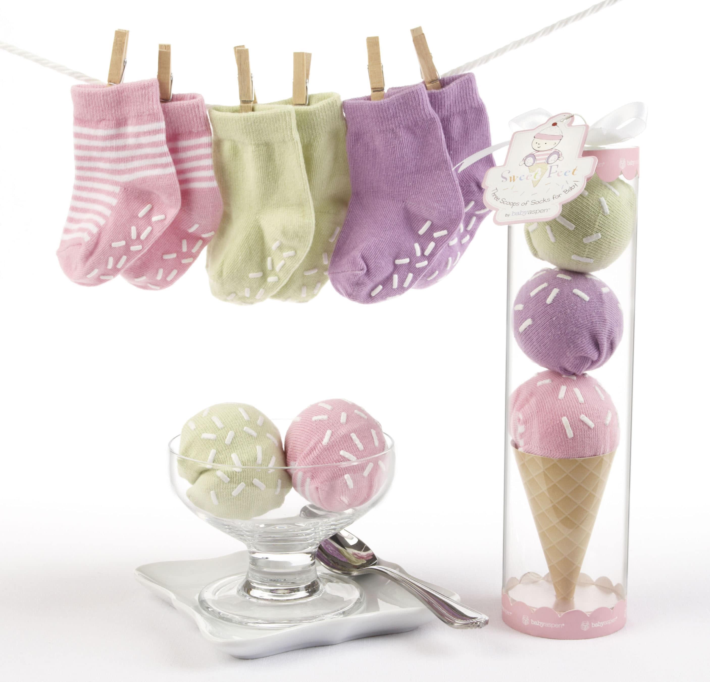 Baby Aspen Sweet Feet Three Scoops of Socks Gift Set in Pink