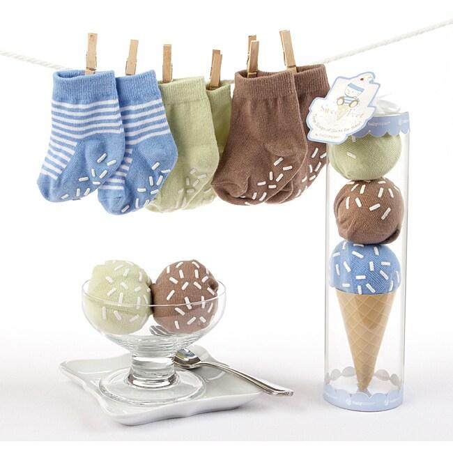 Baby Aspen Sweet Feet Three Scoops of Socks Gift Set in Blue