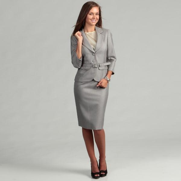 Shop Nine West Women S Silver Multi Belted 2 Piece Skirt Suit Free