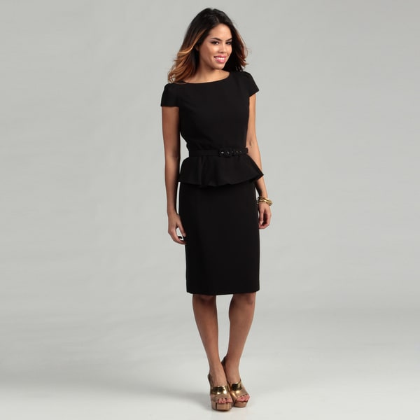 Nine West Women's Short Sleeve Peplum Belted Skirt Suit