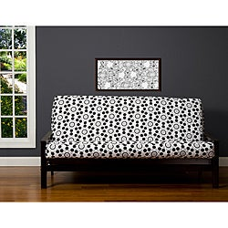 well rounded black grey white 6 inch full size futon cover white futon covers for less   overstock    rh   overstock