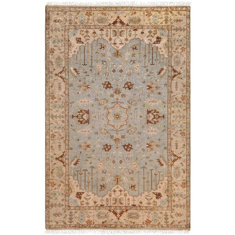 """Hand-knotted Blue Fantasia Semi-Worsted New Zealand Wool Area Rug - 3'9"""" x 5'9"""""""