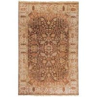 "Hand-knotted Brown Holloway Semi-Worsted New Zealand Wool Area Rug - 3'9"" x 5'9"""