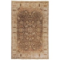 """Hand-knotted Brown Holloway Semi-Worsted New Zealand Wool Area Rug - 3'9"""" x 5'9"""""""