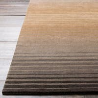 Hand-crafted Brown/Grey Ombre Casual Burger Wool Area Rug - 2'6 x 8'