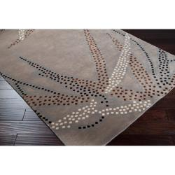Collection Hand-knotted Grey Bella Floral Wool Rug (9' x 13') - Thumbnail 1