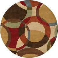 Hand-tufted Lev Contemporary Circles Wool Round Area Rug - 8' Round/Surplus