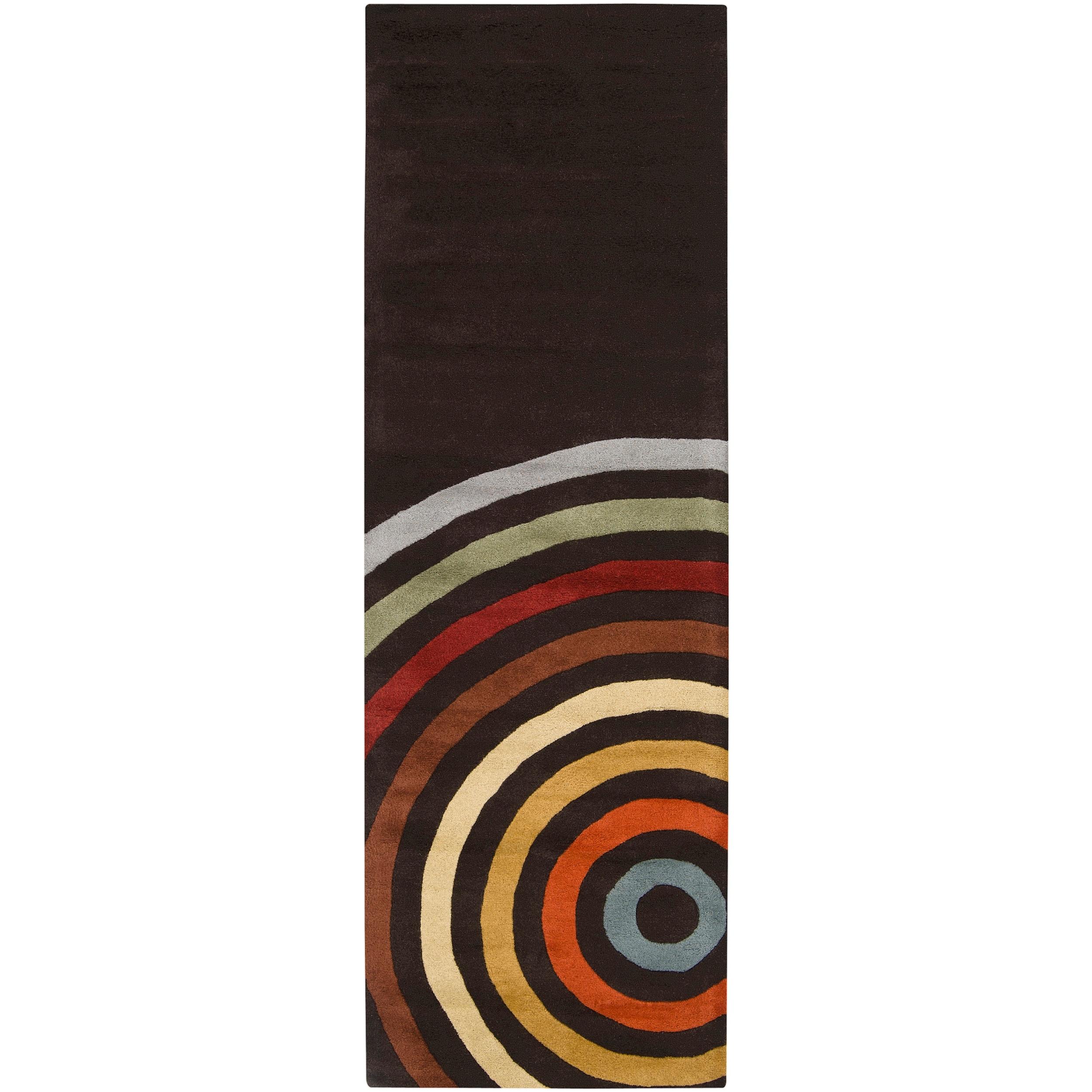 Hand-tufted Black Contemporary Multi Colored Circles Arnott Wool Geometric Rug (2'6 x 8')