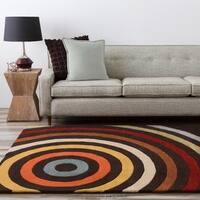 "Hand-tufted Black Contemporary Multi Colored Circles Arnott Wool Geometric Area Rug - 2'6"" x 8'"