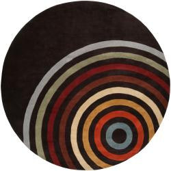 Hand-tufted Black Contemporary Multi Colored Circles Arnott Wool Geometric Area Rug - 4' x 4' - Thumbnail 0