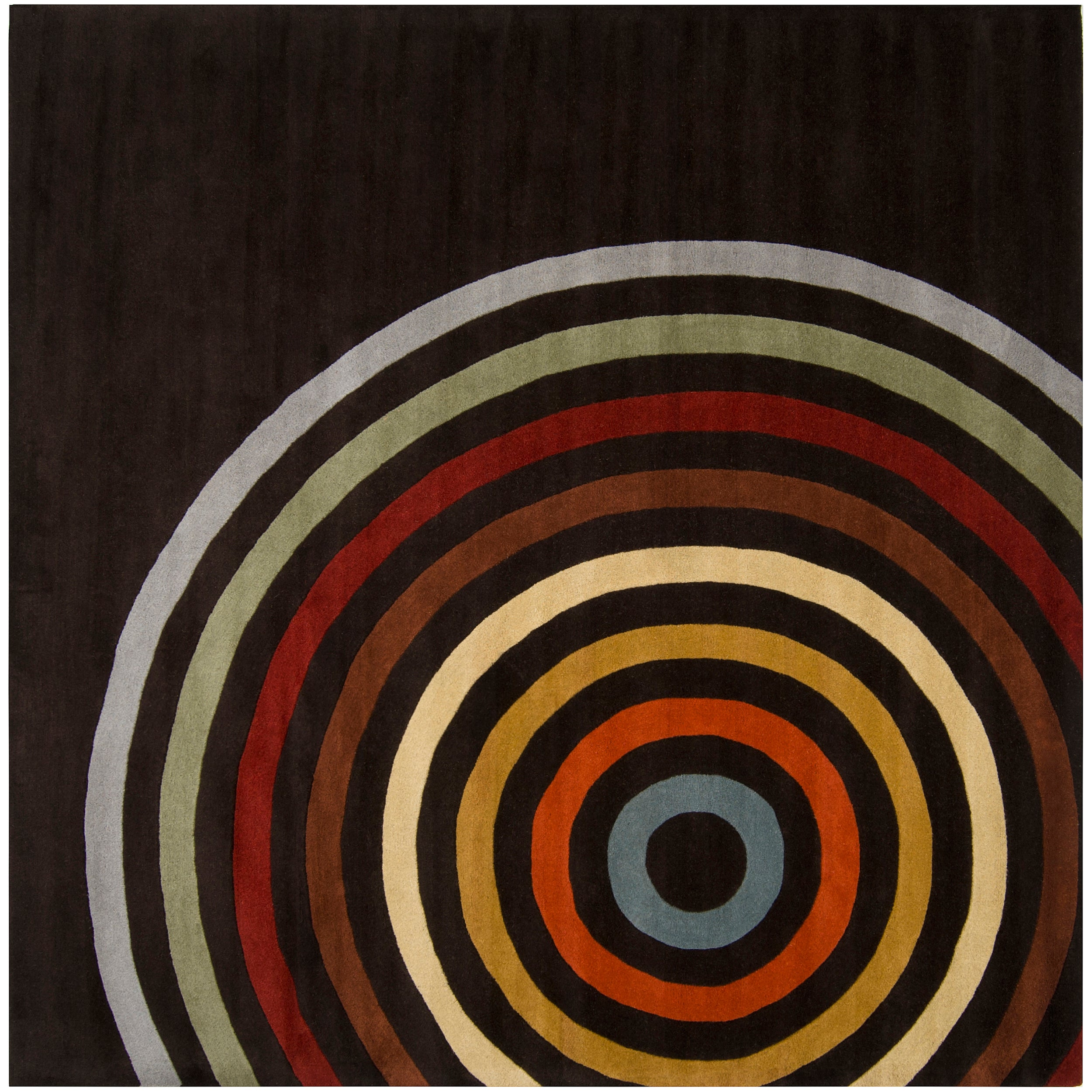 Hand-tufted Black Contemporary Multi Colored Circles Arnott Wool Geometric Rug (4' Square)