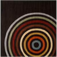 Hand-tufted Black Contemporary Multi Colored Circles Arnott Wool Geometric Area Rug - 8' x 8'