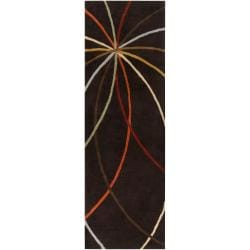 Hand-tufted Brown Contemporary Appert Wool Abstract Rug (3' x 12')