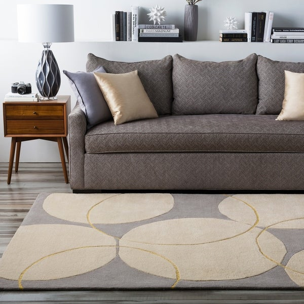 Hand-tufted Contemporary Burdren Gray New Zealand Wool Geometric Area Rug - 5' x 8'