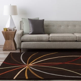 Hand-tufted Brown Contemporary Appert Wool Abstract Rug (4' x 6')