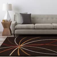 Hand-tufted Brown Contemporary Appert Wool Abstract Area Rug - 4' x 6'