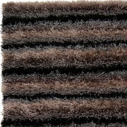 Hand-woven Black Garnet Soft Plush Shag Rug (8' x 10') - Thumbnail 1