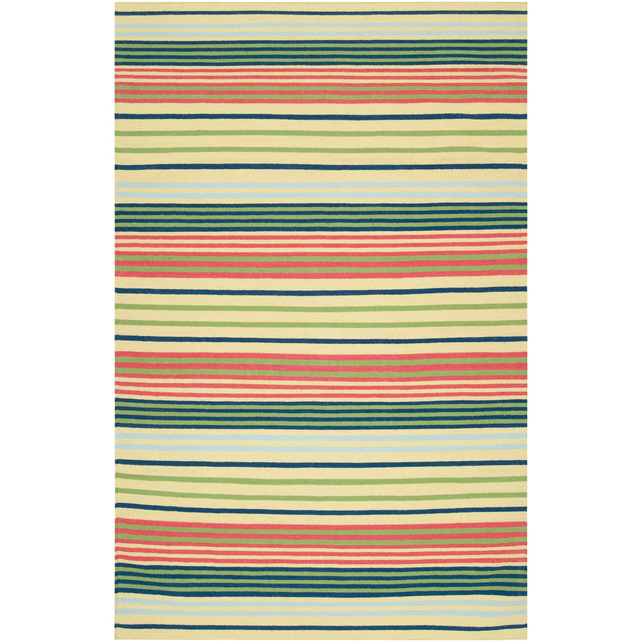 Hand-woven Green Baloo Wool Rug (3'6 x 5'6)